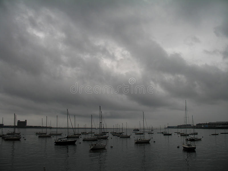 Hurricane Irene approaches Boston Harbor royalty free stock image