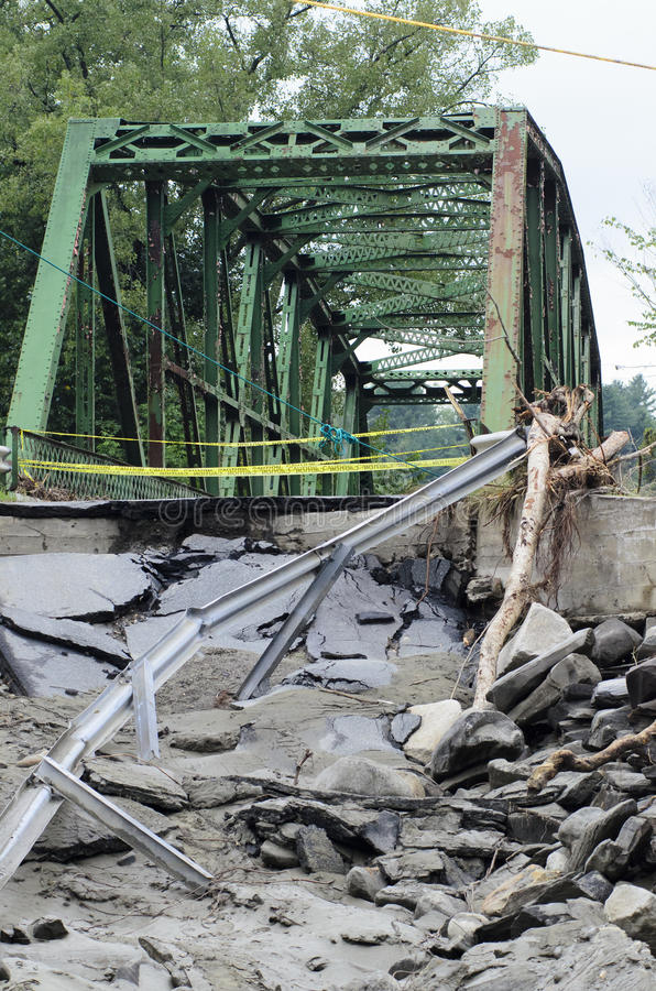 Hurricane Irene Destroyed Bridge. A bridge near Royalton Vermont that survived Hurricane Irene only to have the road washed out stock photo