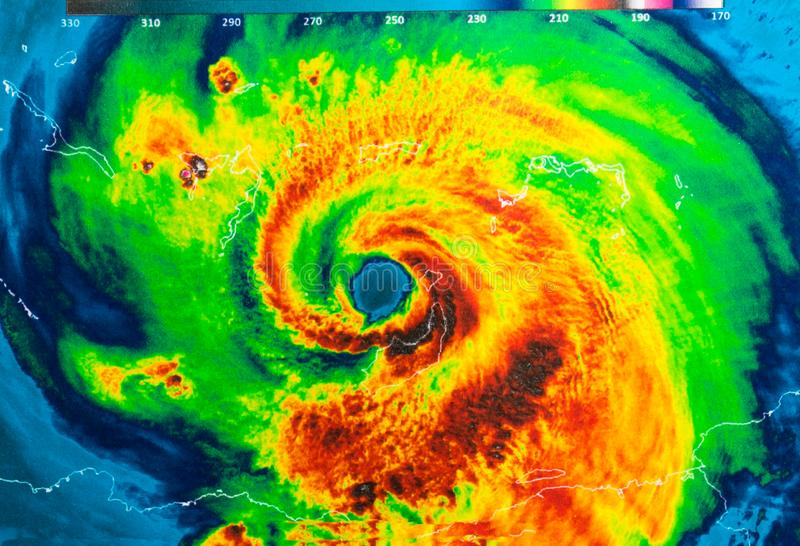 Hurricane Irma. Geocolor Image in the eye of Hurricane Irma. Elements of this image furnished by NASA royalty free stock photo
