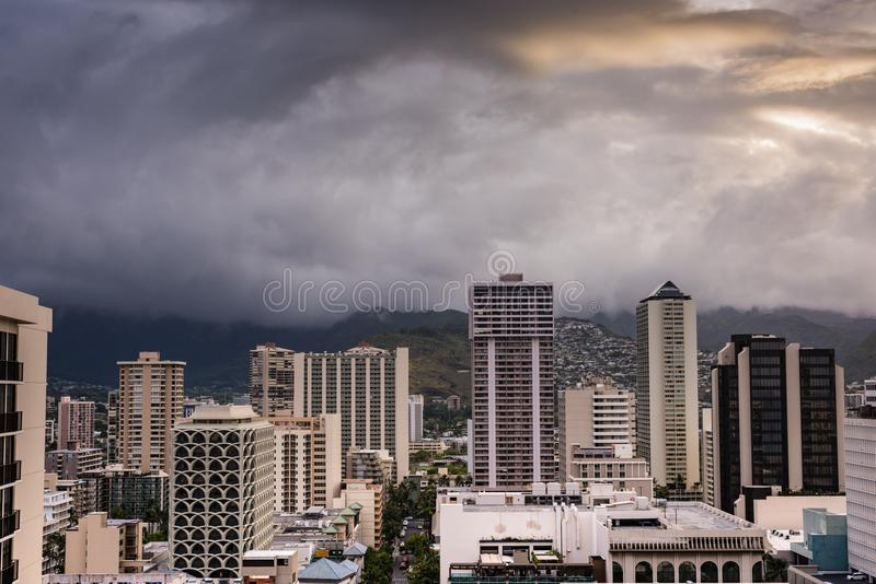 Hurricane Lane Storm Clouds Over Waikiki. Honolulu, Hawaii / USA - August 26, 2018: Aerial view of amazing cloudscape over Waikiki tall buildings as aftermath of stock image