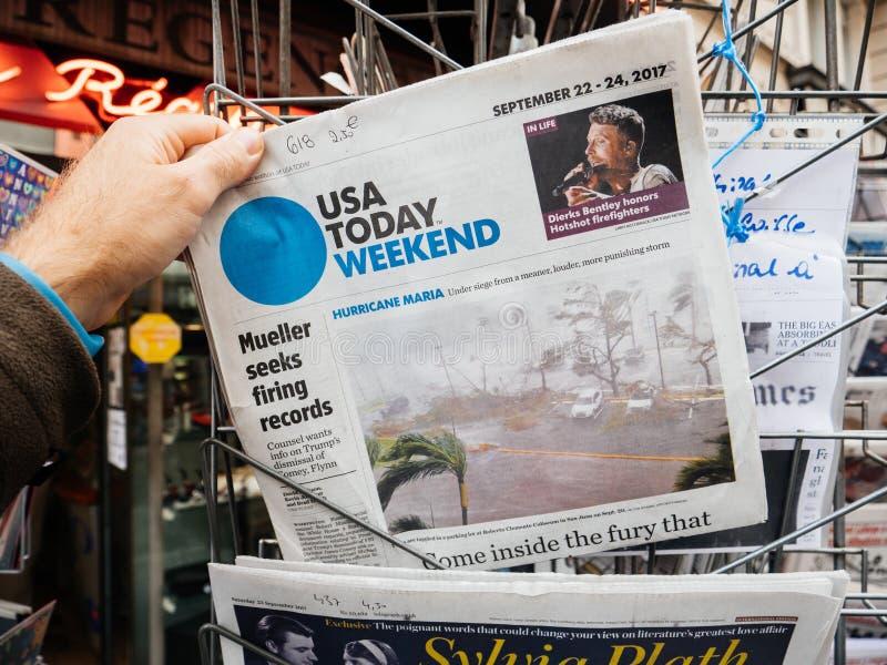 Hurricane Maria latest news at press kiosk in France stock image