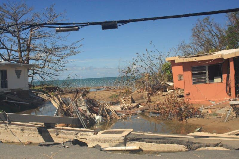 Hurricane Maria Mayaguez Puerto Rico. Hurricane Maria damage to Mayaguez flea market buildings and land surrounding Puerto Rico USA stock photos