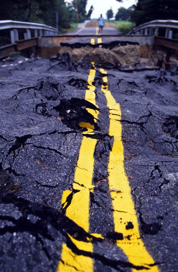 Hurricane & Flood Road Damage royalty free stock photos