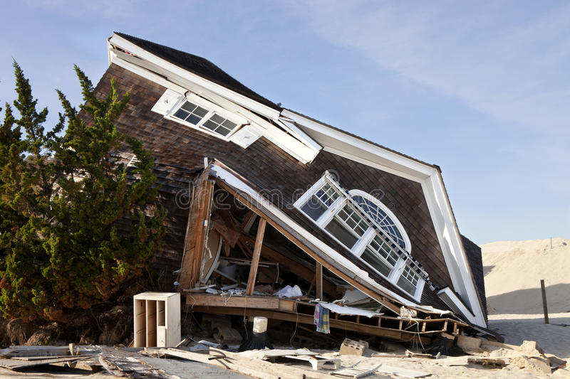 Hurricane Sandy Damage. Hurricane damage: Home in Seaside Heights, New Jersey caused by hurricane Sandy, which made landfall near Brigantine, New Jersey on stock photos
