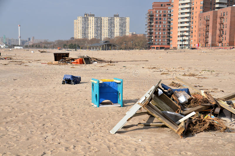 Hurricane Sandys Aftermath. Debris on Brighton Beach, Brooklyn after Hurricane Sandy hit New York area on October 29, 2012 royalty free stock photo