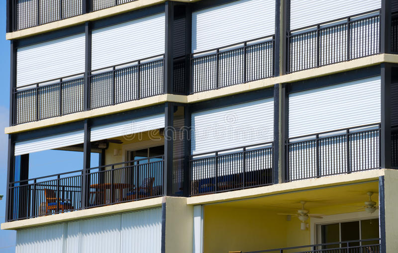 Download Hurricane Shutters On Large Building Stock Photo - Image: 43034872