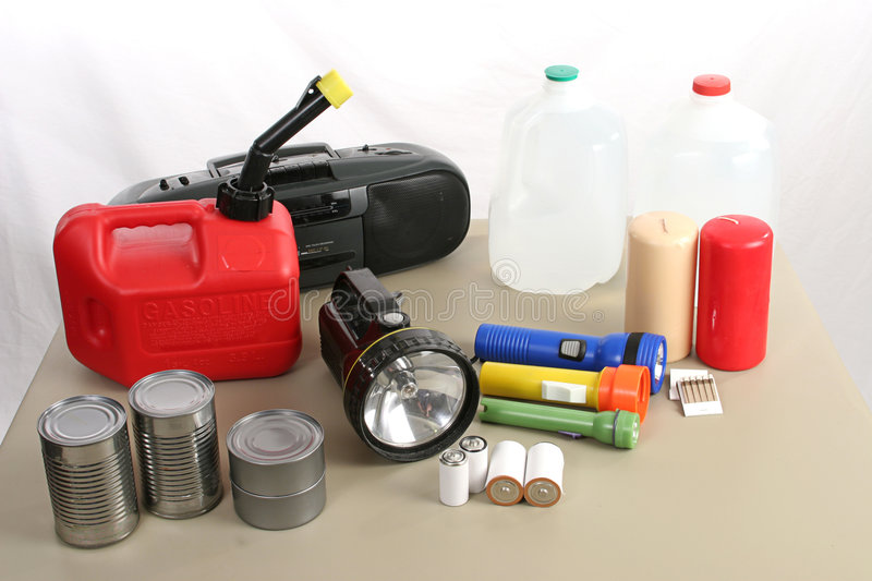 Hurricane Supplies. A collection of items necessary to survive in the aftermath of a hurricane stock photography
