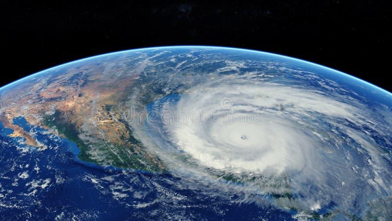 Hurrikan, der sich dem amerikanischen Kontinent nähert, sichtbar über der Erde, ein Blick vom Satelliten Elemente dieses ausgelie stockfotos