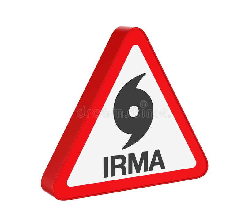 Hurrikan Irma Warning Sign Isolated stock abbildung