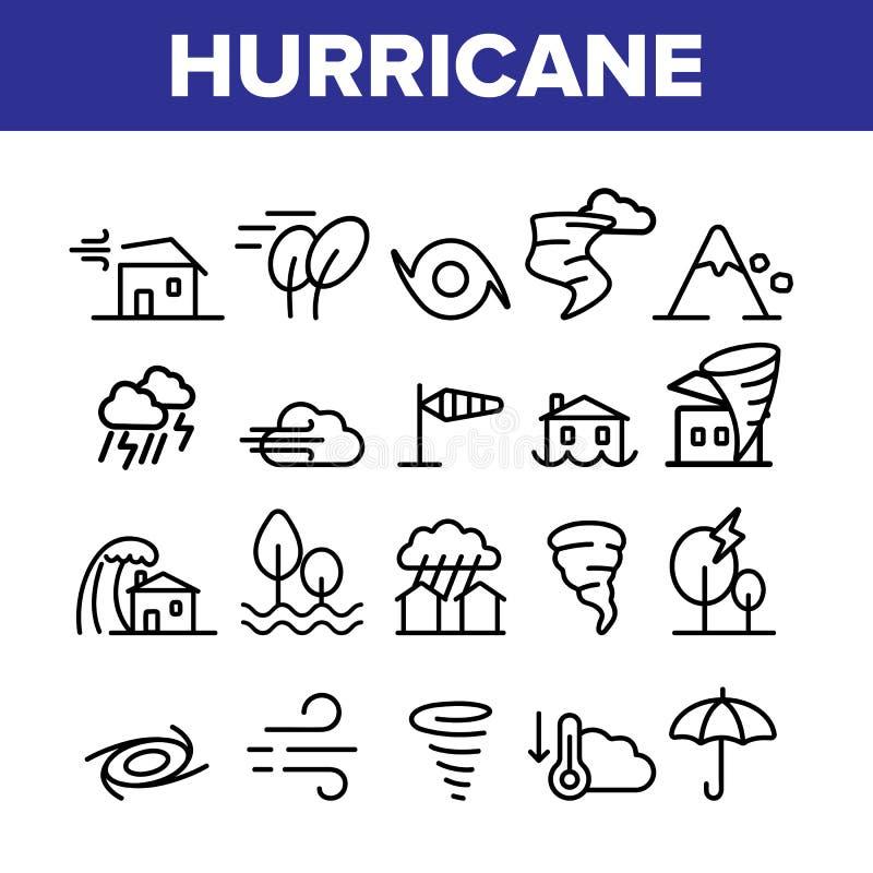 Hurrikan-Naturkatastrophe-Vektor-linearer Ikonen-Satz lizenzfreie abbildung