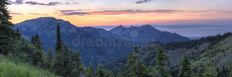 Hurrikan Ridge Sunset Panorama stockfotos