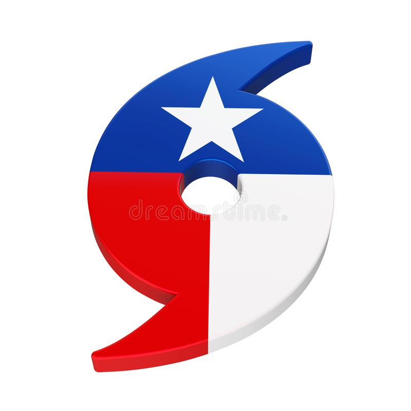 Hurrikan-Symbol mit Texas State Flag vektor abbildung