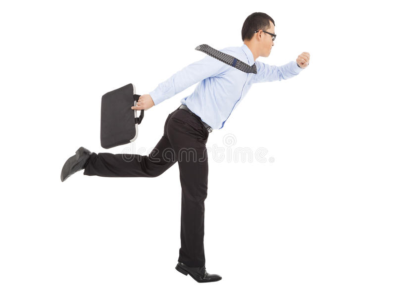 Hurry businessman running and watching watch stock images