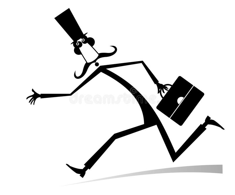 Hurry and busy man isolated illustration. Hurry and busy long mustache man in the top hat with a bag black on white illustration stock illustration