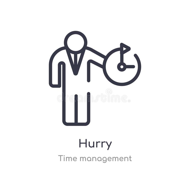 hurry outline icon. isolated line vector illustration from time management collection. editable thin stroke hurry icon on white royalty free illustration