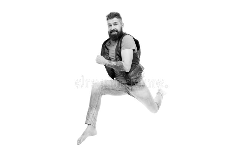 Hurry up. Guy happy cheerful face having fun run jumping. Life in motion. Man bearded guy run away. Always in motion. Last chance. Following his dream royalty free stock photo