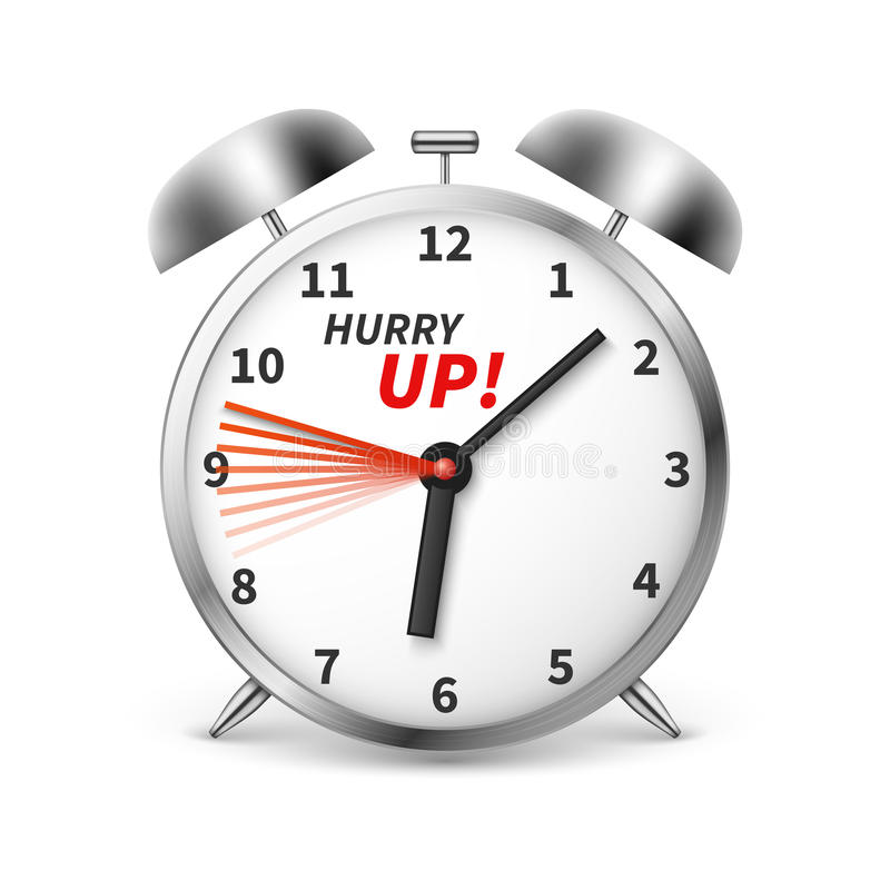 Hurry up vector concept background with alarm clock royalty free illustration