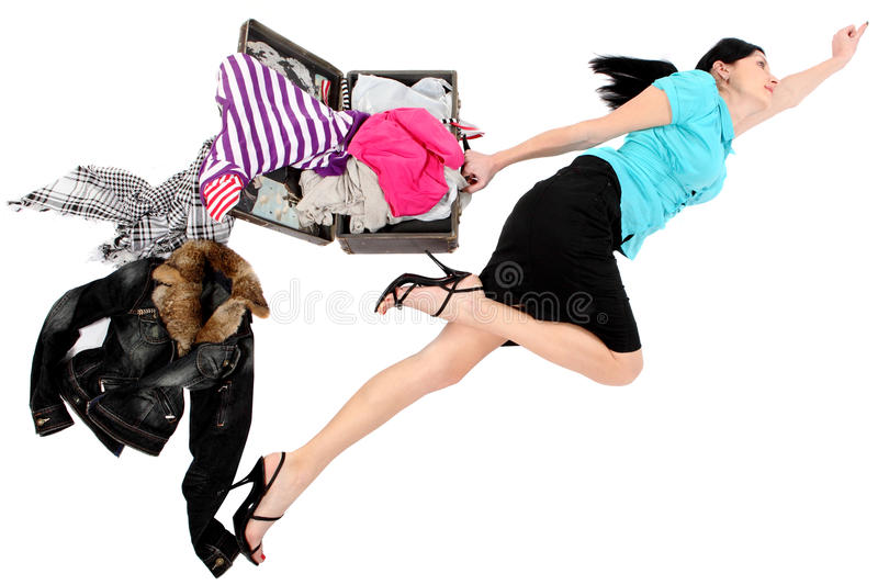 Hurrying girl stock images