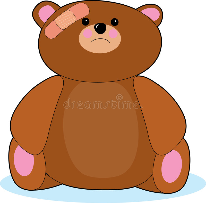 Hurt Teddy Bear. Teddy bear with bandage on his head royalty free illustration