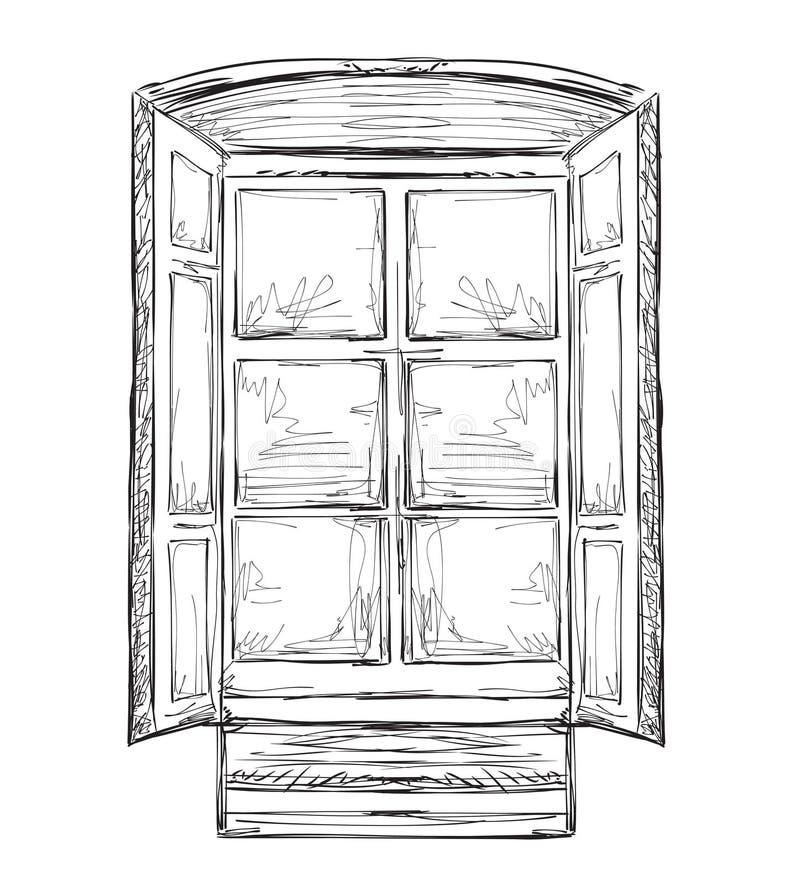 Hurtains tirados mão Esboço de Windows ilustração do vetor