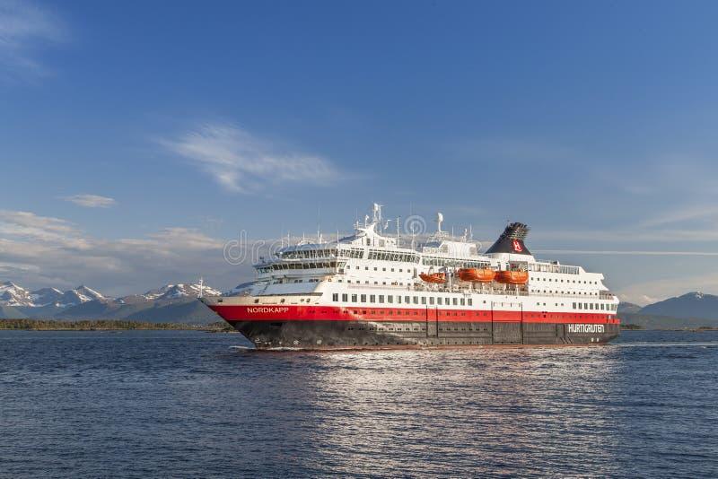 Hurtigruten. Ship on June 12, 2016 in Molde Norway royalty free stock image