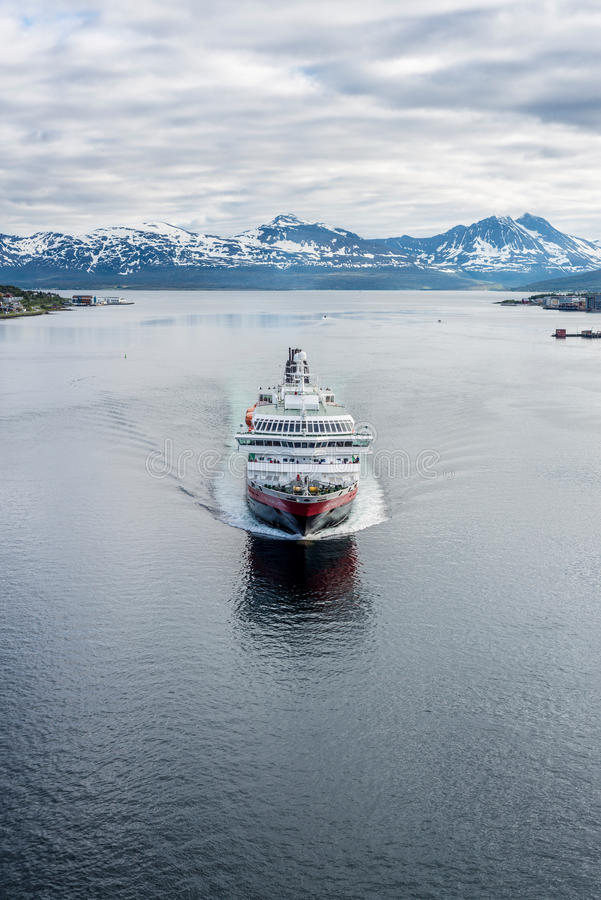 Hurtigruten shipping service in Norway. NORTH CAPE, NORWAY - JUNE 30, 2014: Hurtigruten, a daily passenger and freight shipping service along Norway's western stock photos