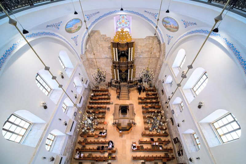 Hurva Synagogue interior view. stock photos