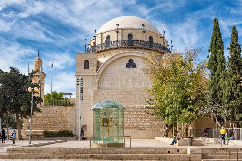 The Hurva Synagogue in Jewish quarter, Old City of Jerusalem in Israel stock images