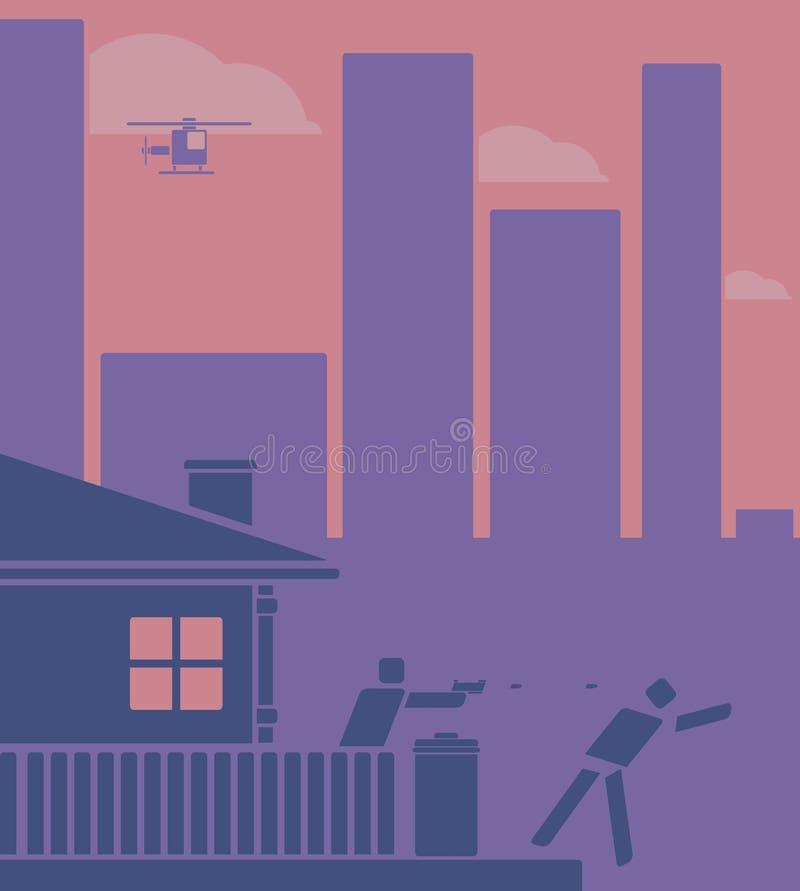 Husägareskytte på en inbrottstjuv Pictogram/plan designstil royaltyfri illustrationer