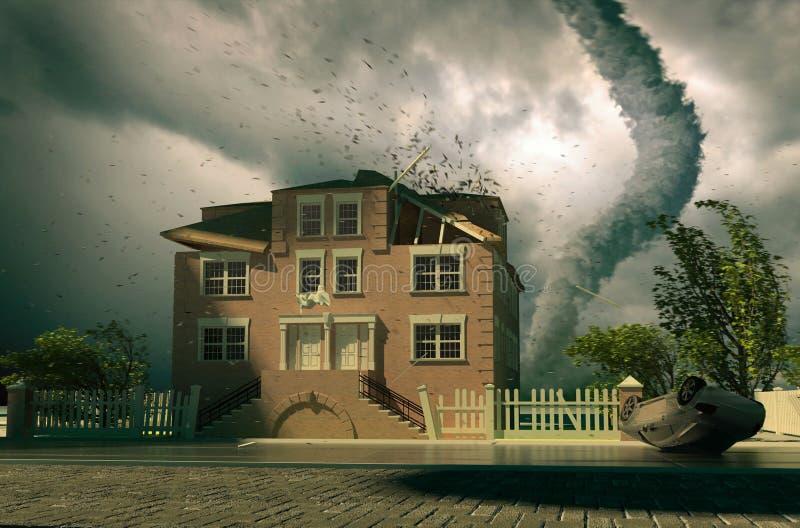 hus över tromb vektor illustrationer