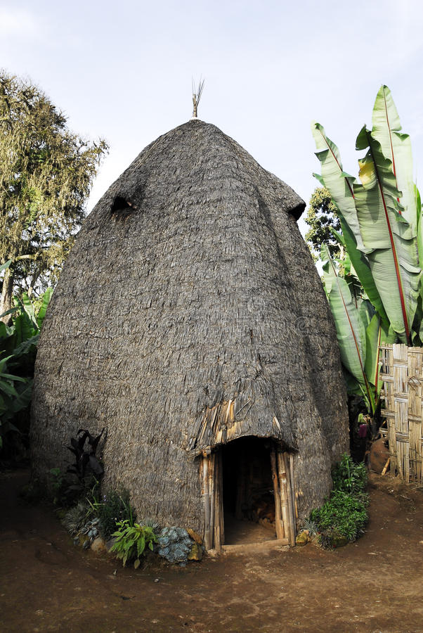 Hus av det Dorze folket, Etiopien arkivbilder