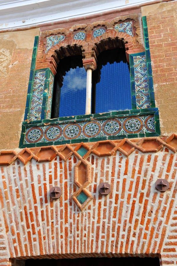 Hus av det spröjsade fönstret, Casa del Ajimez, Zafra, landskap av Badajoz, Extremadura, Spanien arkivfoton