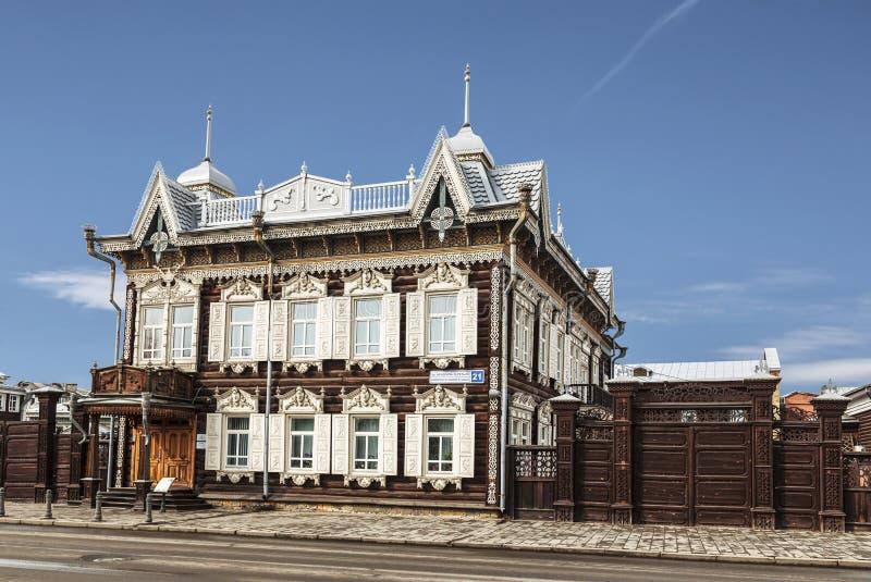 Hus av Europa eller Lace huset på gatan Friedrich Engels, 21 Trähuset av köpmannen Shastin, monument av arkitektur arkivfoto