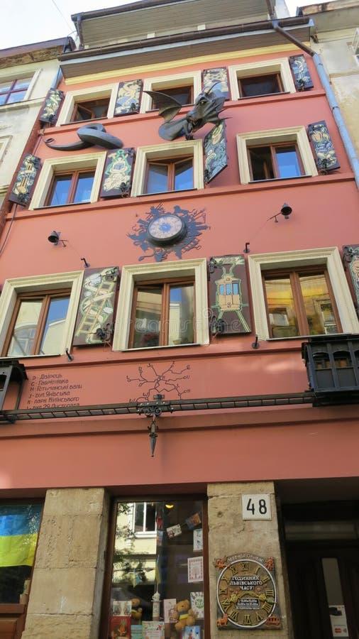 HUS AV LEGENDER Lviv ukraine royaltyfria foton