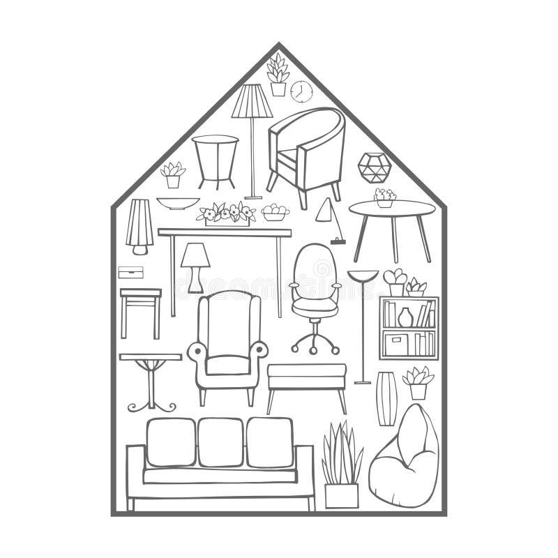Hus av möblemang Vektorn skissar illustrationen vektor illustrationer