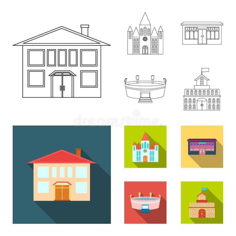 Hus av regeringen, stadion, kafé, kyrka Byggande fastställda samlingssymboler i översikten, materiel för symbol för lägenhetstilv stock illustrationer