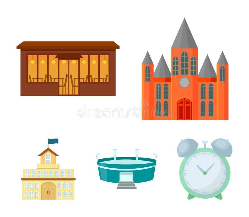 Hus av regeringen, stadion, kafé, kyrka Byggande fastställda samlingssymboler i materiel för symbol för tecknad filmstilvektor vektor illustrationer