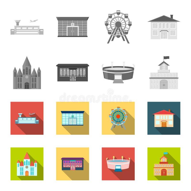 Hus av regeringen, stadion, kafé, kyrka Byggande fastställda samlingssymboler i monokrom, materiel för symbol för lägenhetstilvek royaltyfri illustrationer