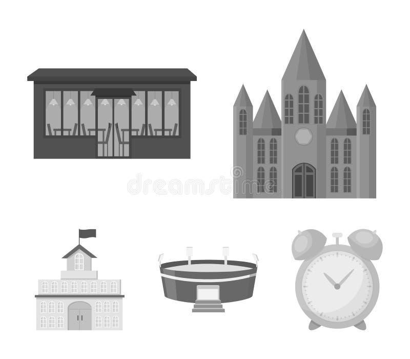 Hus av regeringen, stadion, kafé, kyrka Byggande fastställda samlingssymboler i monokromt materiel för stilvektorsymbol royaltyfri illustrationer