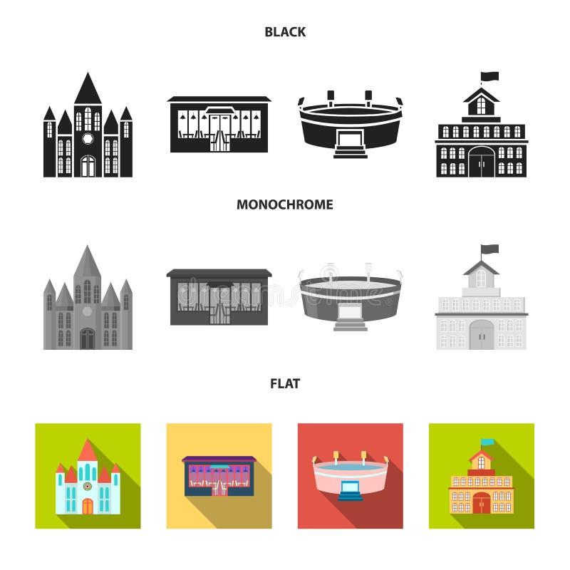 Hus av regeringen, stadion, kafé, kyrka Byggande fastställda samlingssymboler i svart, lägenhet, monokromt stilvektorsymbol vektor illustrationer
