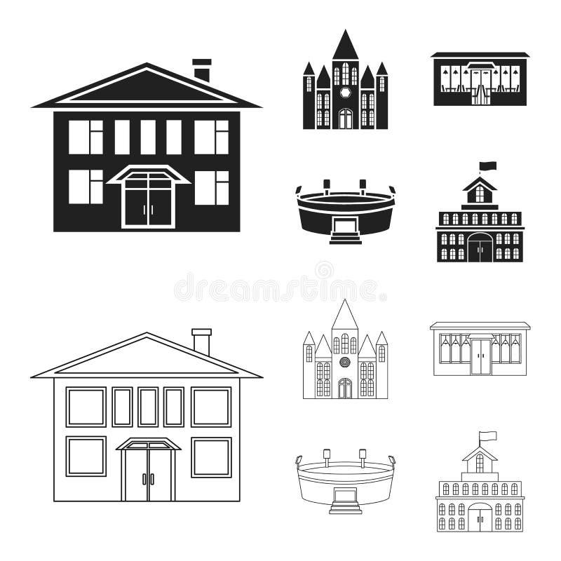 Hus av regeringen, stadion, kafé, kyrka Byggande fastställda samlingssymboler i svart, materiel för symbol för översiktsstilvekto vektor illustrationer