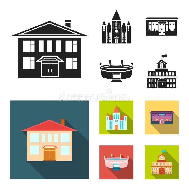 Hus av regeringen, stadion, kafé, kyrka Byggande fastställda samlingssymboler i svart, materiel för symbol för lägenhetstilvektor stock illustrationer
