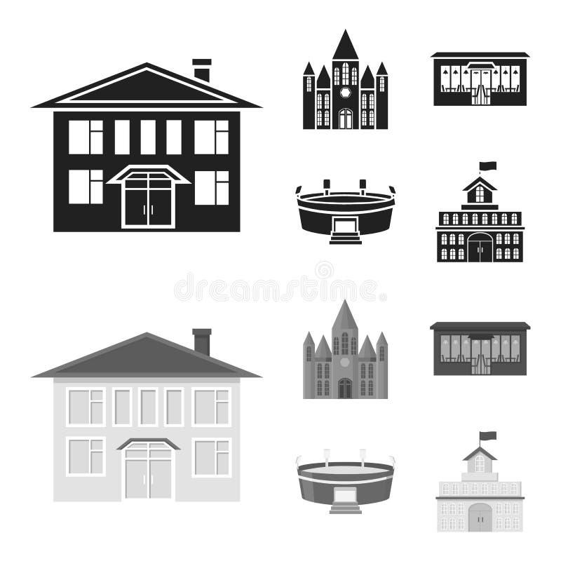 Hus av regeringen, stadion, kafé, kyrka Byggande fastställda samlingssymboler i svart, materiel för symbol för monochromstilvekto royaltyfri illustrationer
