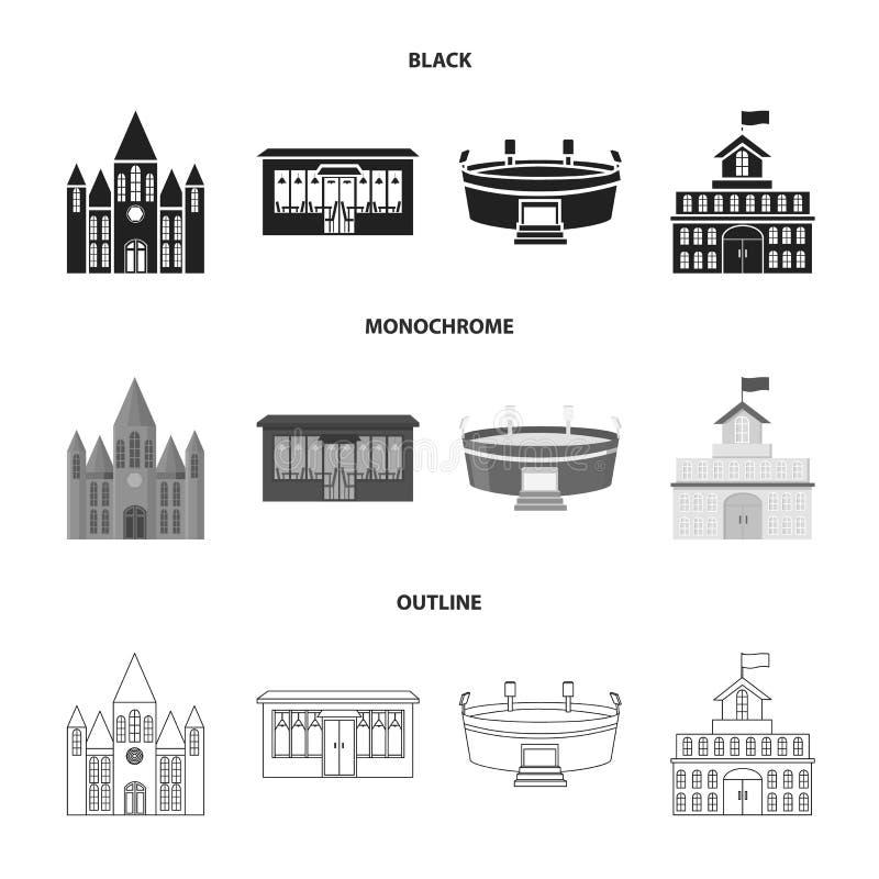 Hus av regeringen, stadion, kafé, kyrka Byggande fastställda samlingssymboler i svart, monokrom, symbol för översiktsstilvektor royaltyfri illustrationer