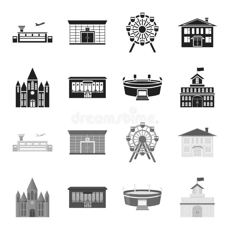 Hus av regeringen, stadion, kafé, kyrka Byggande fastställda samlingssymboler i svart, monokromt materiel för stilvektorsymbol stock illustrationer