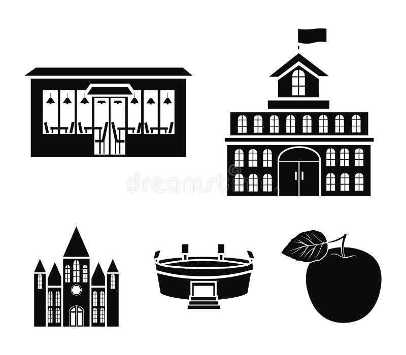Hus av regeringen, stadion, kafé, kyrka Byggande fastställda samlingssymboler i svart stilvektorsymbol lagerför illustrationen vektor illustrationer