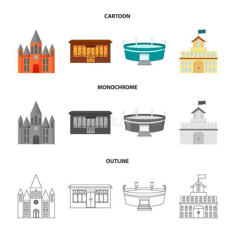 Hus av regeringen, stadion, kafé, kyrka Byggande fastställda samlingssymboler i tecknade filmen, översikt, monokrom stilvektor vektor illustrationer