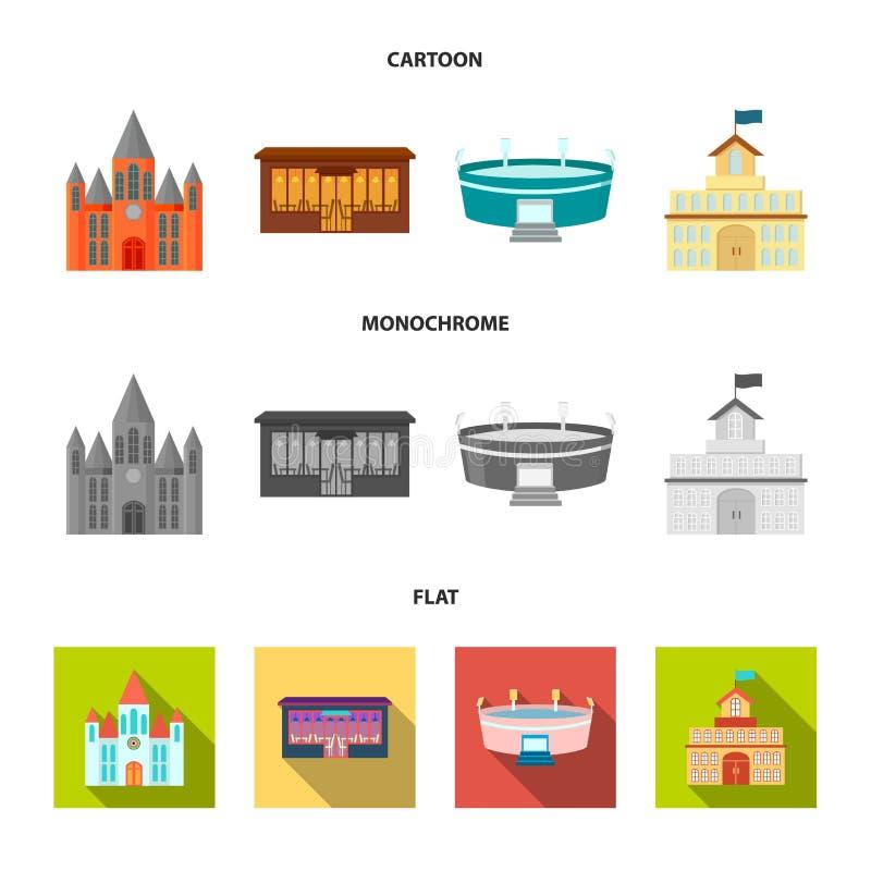 Hus av regeringen, stadion, kafé, kyrka Byggande fastställda samlingssymboler i tecknade filmen, lägenhet, monokromt stilvektorsy royaltyfri illustrationer