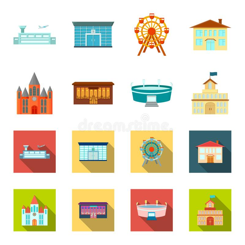 Hus av regeringen, stadion, kafé, kyrka Byggande fastställda samlingssymboler i tecknade filmen, materiel för symbol för lägenhet stock illustrationer