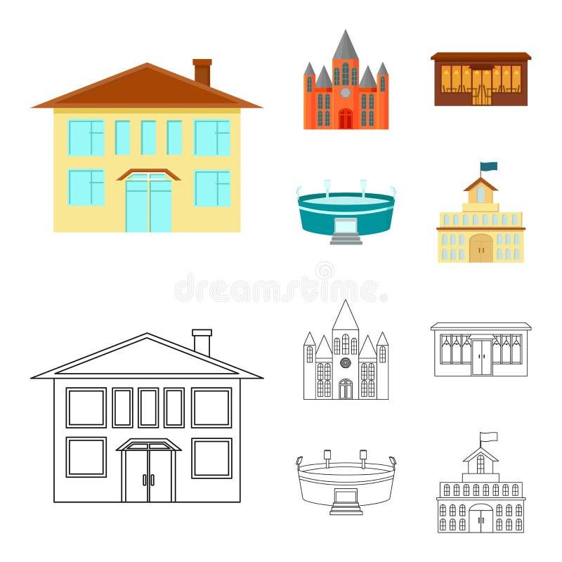 Hus av regeringen, stadion, kafé, kyrka Byggande fastställda samlingssymboler i tecknade filmen, materiel för symbol för översikt royaltyfri illustrationer
